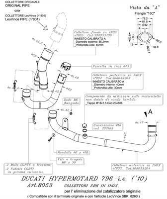 Raccord inox pour la suppression du catalyser Leovince