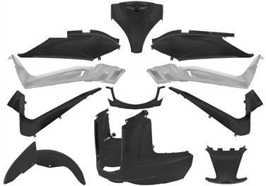 Kit carénage scooter complet ( 11 pieces ) noir mat