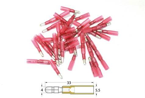 Bout à bout mâle rond à sertir thermo-rétractable Bihr 50pcs transparent rouge