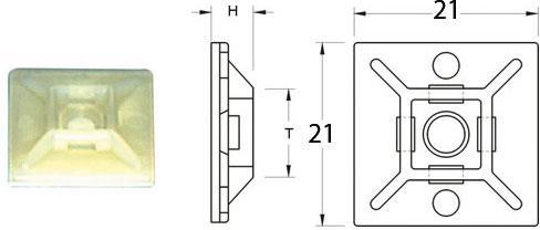 Attaches adhésives marque Bihr 21x21mm couleur blanc pour collier nylon