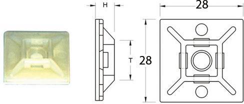 Attaches adhésives marque Bihr 28x28mm couleur blanc pour collier nylon