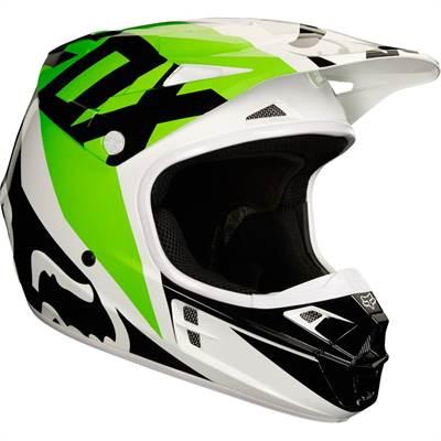 Casque cross Fox V1 Race blanc noir vert