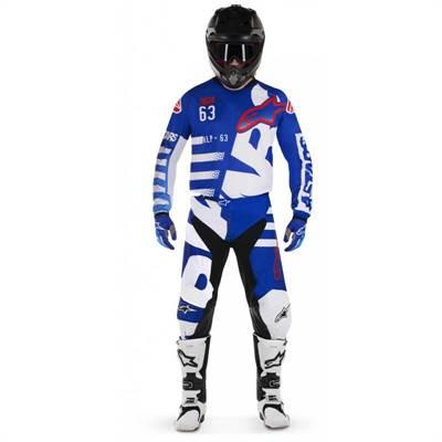 Tenue cross Alpinestars Racer Braap bleu/blanc/rouge