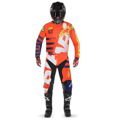 Tenue cross Alpinestars Racer Braap orange-fluo/bleu-foncé/blanc
