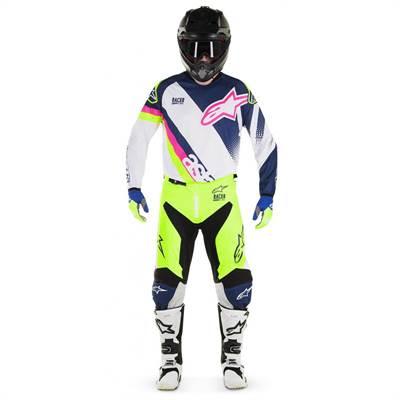 Tenue cross Alpinestars Racer Supermatic blanc/bleu-foncé/jaune-fluo