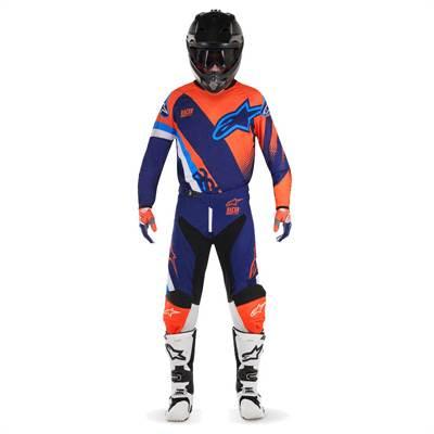 Tenue cross Alpinestars Racer Supermatic bleu-foncé/orange-fluo/bleu-aqua