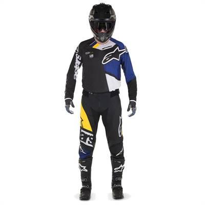 Tenue cross Alpinestars Techstar Factory noir/bleu-foncé/blanc/jaune