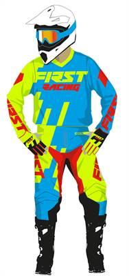 Tenue cross enfant First Racing Code bleu/vert