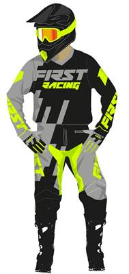 Tenue cross enfant First Racing Code gris/vert