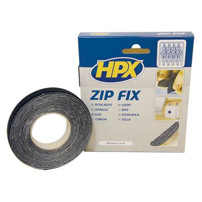 Ruban sangle Zip Fix noir HPX 20mm X 5m