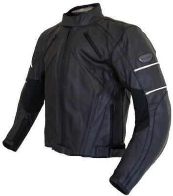 Blouson moto cuir Strada str107 noir / bandes blanche