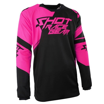 Maillot cross Shot Contact claw néon rose
