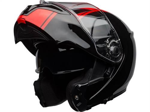 Casque modulable BELL SRT Modular Ribbon Gloss noir/rouge