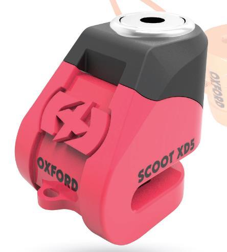 Bloque disque marque Oxford Scoot XD5 diam.5mm couleur rose/noir