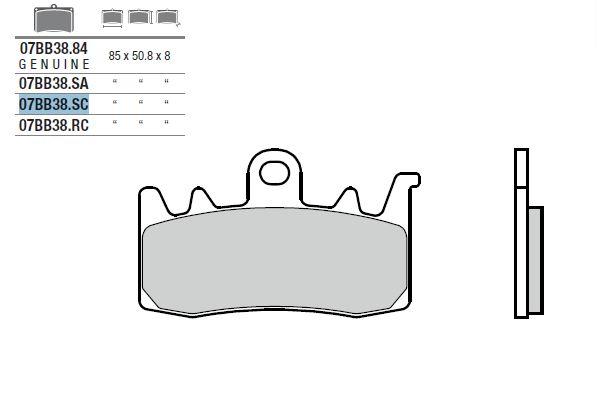 Plaquettes de frein Brembo métal fritté indice SC