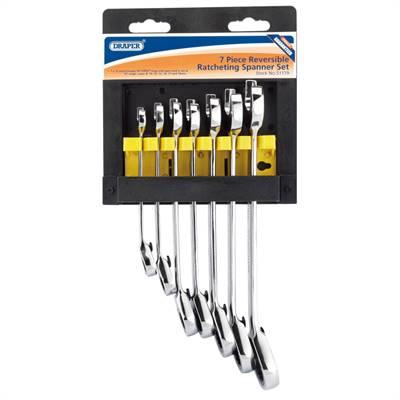 Jeu 7 clés mixtes Draper cliquet réversible 8, 10, 12, 13, 14, 17 et 19mm