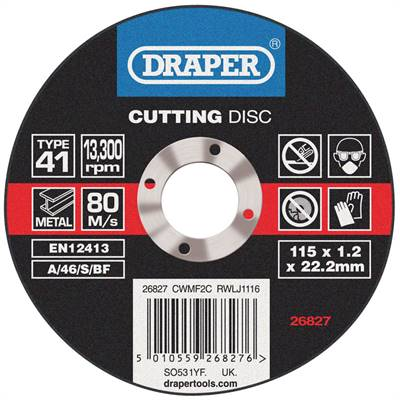 Disque à tronçonner Draper diam.115mm - 1,2mm