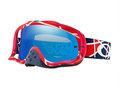 Masque marque Oakley Crowbar MX Troy Lee Designs Metric Red/blanc écran noir Ice Iridium